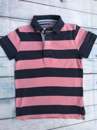 Mini Boden navy and pink polo shirt age 7-8